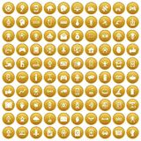 100 robot icons set gold. 100 robot icons set in gold circle isolated on white vector illustration Royalty Free Illustration