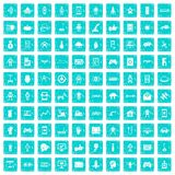 100 robot icons set grunge blue Stock Image