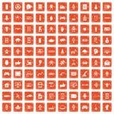 100 robot icons set grunge orange. 100 robot icons set in grunge style orange color isolated on white background vector illustration Royalty Free Stock Photography