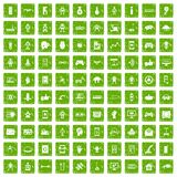 100 robot icons set grunge green. 100 robot icons set in grunge style green color isolated on white background vector illustration Royalty Free Stock Image