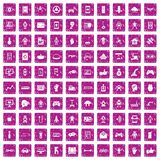 100 robot icons set grunge pink. 100 robot icons set in grunge style pink color isolated on white background vector illustration Royalty Free Stock Photography