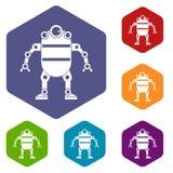Robot icons set hexagon Stock Photo