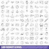 100 robot icons set, outline style Stock Photo