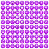 100 robot icons set purple. 100 robot icons set in purple circle isolated on white vector illustration royalty free illustration