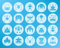 Robot shape carved flat icons vector set. Robot icons set. Sign kit of character. Transformer pictogram collection includes toy, cyborg, android. Simple robot Royalty Free Stock Photography