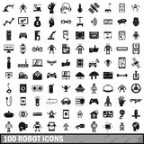 100 robot icons set, simple style. 100 robot icons set in simple style for any design illustration royalty free illustration