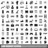 100 robot icons set, simple style. 100 robot icons set in simple style for any design vector illustration Royalty Free Stock Photos