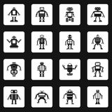 Robot icons set squares vector. Robot icons set in white squares on black background simple style vector illustration Stock Image