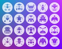 Robot shape carved flat icons vector set. Robot icons set. Web sign kit of toy. Character pictogram collection includes transformer, cyborg, machine. Simple Stock Photo