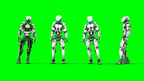 Robot is idle . Realistic motion and reflections. 4K green screen footage.