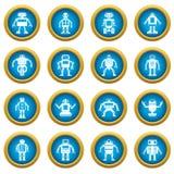 Robot ikon okręgu błękitny set Zdjęcia Stock
