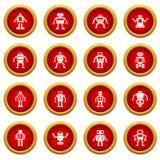 Robot ikony okręgu czerwony set Obraz Stock