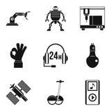 Robot ikony ustawiać, prosty styl Zdjęcia Stock
