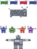 Robot illustration of dog and boy - jpeg and vecto. Jpeg and illustrator eps file of a robot dog and robot boy in various colours Royalty Free Stock Photos