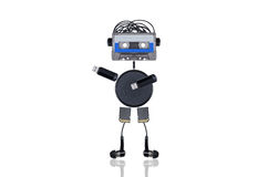 The robot indicates the direction to the side Stock Image