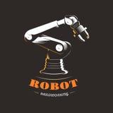 Robot industrial hidráulico para la automatización de la producción en un fondo negro imágenes de archivo libres de regalías