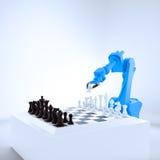 Robot industrial que juega a ajedrez Imagen de archivo libre de regalías