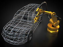 Robot industriel avec la carrosserie Images libres de droits