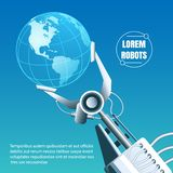 Robot industry Emblem. Globe in a robotic arm. Environment friendly global robot industry concept. Vector illustration vector illustration