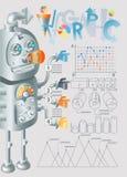Robot infographic ontwerp, eps10 Stock Foto