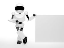 Robot with infotrmation board Royalty Free Stock Photography