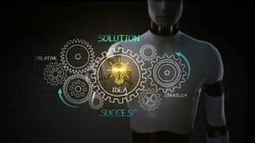 Robot, ingranaggi commoventi del cyborg, successo di disegno, concetto con la ruota di ingranaggio sulla lavagna, creativa, strat illustrazione di stock