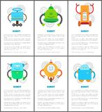 Robot and Innovation Set Vector Illustration. Robot and innovation set text sample and information title and robot with gears, creatures collection vector royalty free illustration