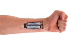 Robot - Insert the battery in the arm Royalty Free Stock Photography