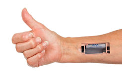 Robot - Insert the battery in an arm Stock Image