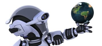 Robot inspecting a globe Stock Photos