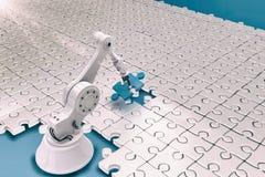 Robot installant les puzzles denteux 3d Images stock