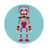 Robot intelligence artificial circle icon Royalty Free Stock Image