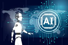 Robot with intelligence artificial concept stock illustration