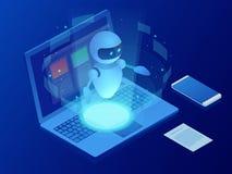 Robot isométrique apprenant ou résolvant le concept de problèmes Illustration de vecteur d'affaires d'intelligence artificielle s illustration stock