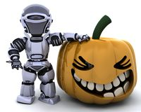 Robot with jack o lantern pumpkin Royalty Free Stock Photo