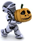 Robot with jack o lantern pumpkin. 3D render of a robot with jack o lantern pumpkin Royalty Free Stock Photos