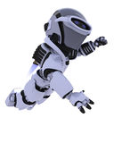 Robot with jet pack flying. 3D render of a robot with jet pack flying Stock Images