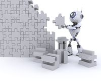 Robot with Jigsaw puzzle Royalty Free Stock Photography