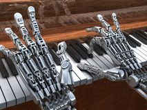 Robot jouant sur le piano Illustration de technologie Photographie stock libre de droits