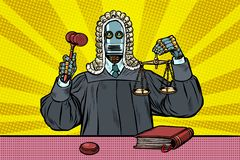 Robot judge in robes and wig stock image