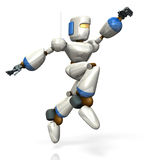 Robot is jumping toward the target. Stock Photo
