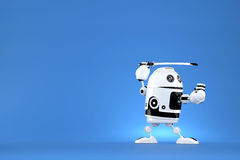 Robot with katana on blue background. Contains clipping path.  Royalty Free Stock Images