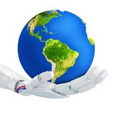Robot keep the blue Earth planet in hand. Technology concept. 3d rendering. Elements of this image are furnished by NASA Stock Image