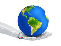 Robot keep the blue Earth planet in hand. Stock Photos