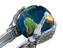 Robot keeps the Earth globe. Planet in hands at high technology. Concept. Ual 3d illustration Royalty Free Stock Photos