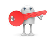 Robot with key. Success concept. Separated on white Royalty Free Stock Photo