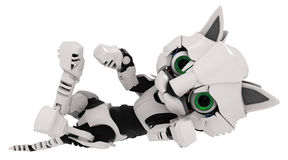 Robot Kitten, On Back. Small Robotic 3d Kitten Model Stock Photo