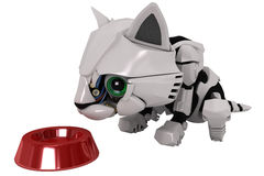 Robot Kitten, Bowl Royalty Free Stock Photography