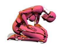 Robot kneeling over white. 3d render of a pink Robot kneeling over a white background Stock Photo