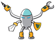 Robot Knight. Represent a metal robot holding a sword and a shield. well layered  file .ai8 Royalty Free Stock Photo